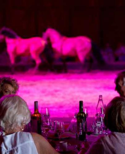 chevaux sur la scène et personnes dinant pendant le cabaret du Haras d'Hennebont