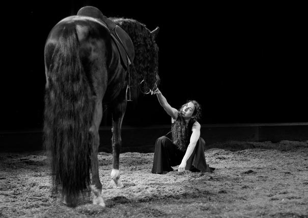 cheval et artiste sur piste