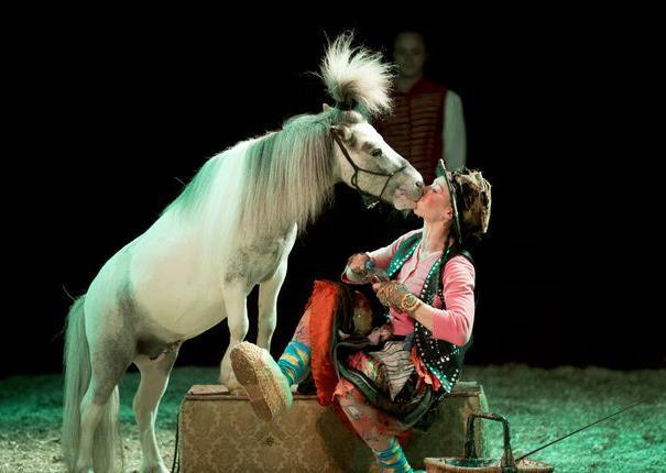 cheval embrassant artiste sur scène